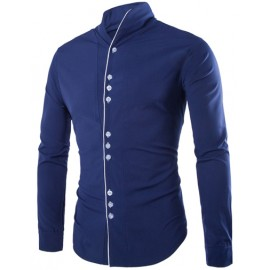 Stylish Pure Color Long Sleeve Shirt with Contrast Trim