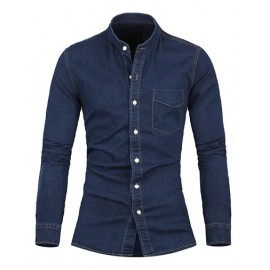 Slim Fit Stand Collar Single Breasted Denim Shirt