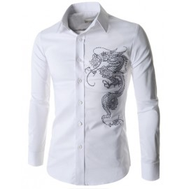 Trendy Long Sleeve Rivet Dragon Shirt in Pure Color
