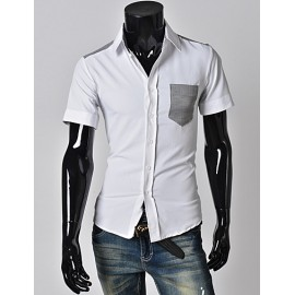 Modern Short Sleeve Shirt with Houndstooth Patch Pocket
