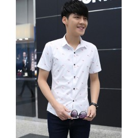 Tiny Bicycle Printed Short Sleeve Pointed Collar Shirt
