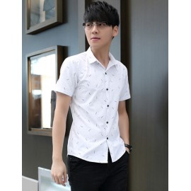 Tiny Feather Printed Short Sleeve Pointed Collar Shirt