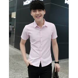 Laconic Pure Color Short Sleeve Pointed Collar Jacquard Shirt