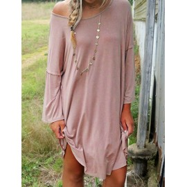 Leisure Long Sleeve Pure Color Day Dress in Dark Pink