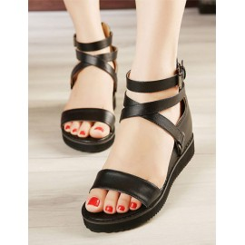 Korean Open Toe Wedge Sandals in Solid Color Size:34-39
