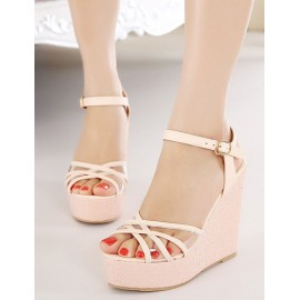 Fabulous See-Through Cross-Strap Wedge Sandals in Solid Color Size:34-39