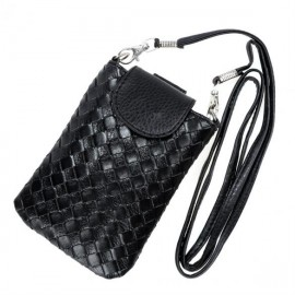Fashion Women Synthetic Leather Woven Pattern Cell Phone Shoulder Bag Cross Bag Cell Phone Pouch