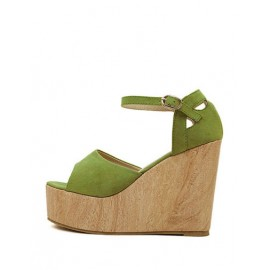 Girlish Peep-Toe Wedge Sandals with Ankle-Strap Size:34-39