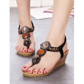 Roman Beads Ornament Wedge Sandals with Elastic Strap Size:34-39