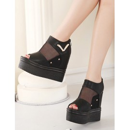 Sexy Peep-Toe Wedge Sandals with Mesh Panel Size:34-39