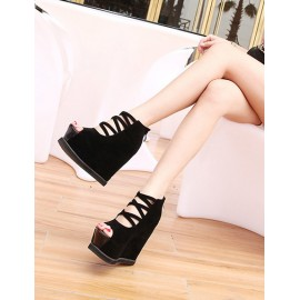 Sexy Zipper Back Peep-Toe Wedge Shoes with Cross-Strap  Size:34-39