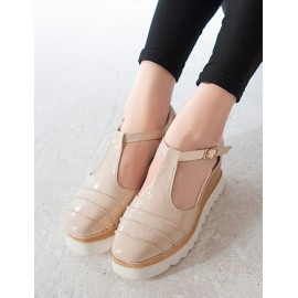 Baroque Frilled Closure Toe Wedge Sandals with T-Bar Trim Size:34-39