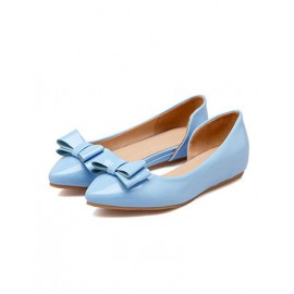 Youthful Pure Color Point-Toe Flats in Bowknot Trim Size:34-39