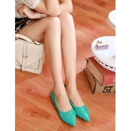 Preppy Pointed Toe Flat Heel Shoes in Pure Color Size:34-39