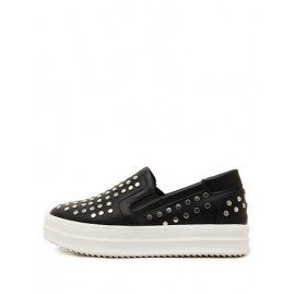 Casual Studs Detail Round Toe Flats in Contrast Color Size:35-39