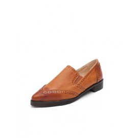 Vintage Style Perforated Detail Pointed Toe Pure Color Shoes Size:35-39