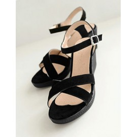Smart Cross Stap Ankle Buckled Sandals in Wedge Size:35-39