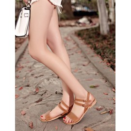 Casual Double Buckle Flat Heel Sandal in Pure Color Size:34-39