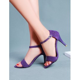 Chic High Heel Ankle Strap Sandals with Buckle Trim Size:34-39
