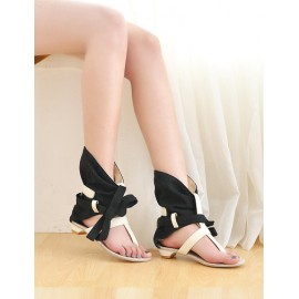 Unique Bowknot Strap Thong Sandal Boots in Wedge Heel Size:34-39