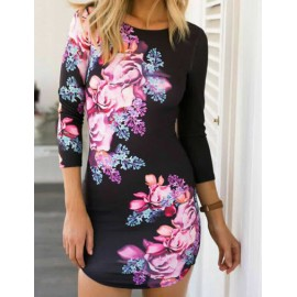Stylish Cross Back Hollow Trim Bodycon Dress in Floral