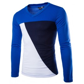 Long Sleeve Color Blocked T-Shirt in Slim Fit