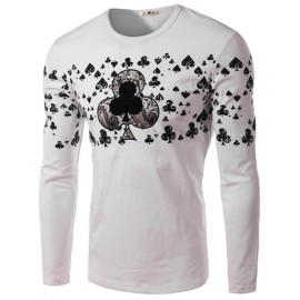 Fashionable Poker Printed Crew Neck Tee with Long Sleeve