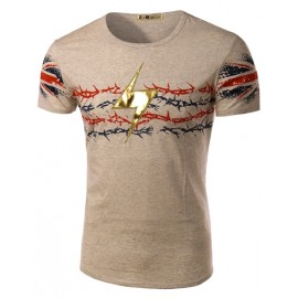 Fashionable Flash Printed Short Sleeve Tee in Color Panel