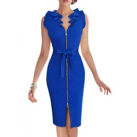 Unique Zip Front Ruffle Neckline Sleeveless Party Dress with Bowknot
