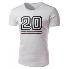 Sportive Number Printed Frayed Printed Tee with Short Sleeve