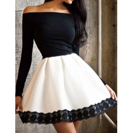 Sexy Off-Shoulder Flare Hem Mini Dress with Lace Panel