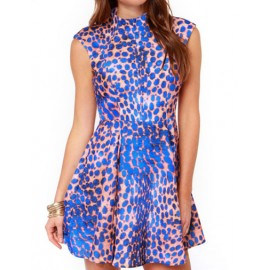 Flamboyant Smocked Waist Leopard Printed Party Dress with Flare Hem