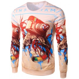 Abstract Cartoon Printed Long Sleeve Tee with Crew Neck