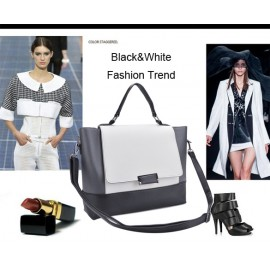 Cool Girl Lady New Fashion Women Synthetic Leather Handbag Contrast Color Shoulder Bag