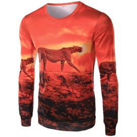 Vivid Leopard Printed Long Sleeve Basic Tee with Crew Neck