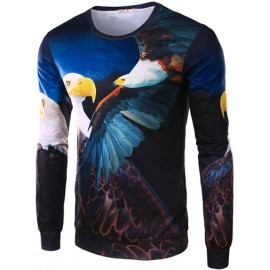 Vivid Eagle Printed Crew Neck Tee with Long Sleeve