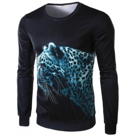 Styling Leopard Printed Crew Neck Tee with Long Sleeve