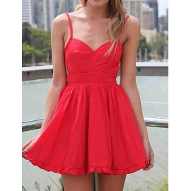 Sexy Spaghetti Dress with Tie Back in Pure Color