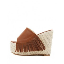 Comfy Tassel Trim PU Slippers with Weave Wedge Size:34-39