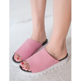 Cozy Contrast Color Platform Trim Slippers with Open Toe Size:35-39