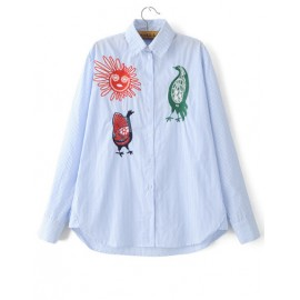 Chic Embroidery A-Line Long Sleeve Shirt in Pinstripe Size:S-L