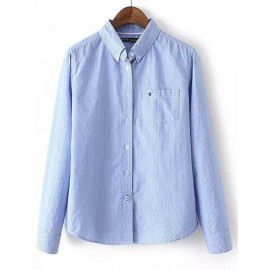 Basic Pinstripe Long Sleeve Shirt in Slim Fit Size:S-L