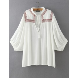 Vintage Loose Cape Sleeve Blouse in Embroidery Detail Size:S-L