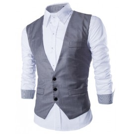 Basic Tailored Vest with Button Placket