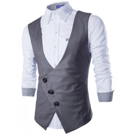 Tailored Vest with Slanted Buttons Placket