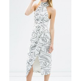 Elegant High Neck Sleeveless Dress with Cut Out Shoulders