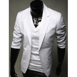 Trendy 3/4 Sleeve Pure Color Blazer with Two-Buckle