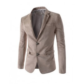 Stylish Twin Buttons Single-Breasted Solid Color Suede Blazer