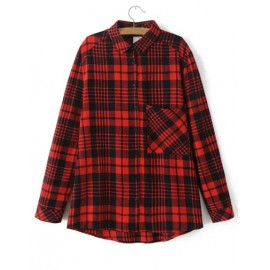 Classic Loose Plaid Shirt in Long Sleeve Size:S-L