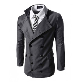 Stylish Double-Breasted Stand Collar Blazer